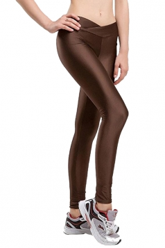 Womens Tights Stretch Ankle Length Yoga Plain Sports Leggings Brown