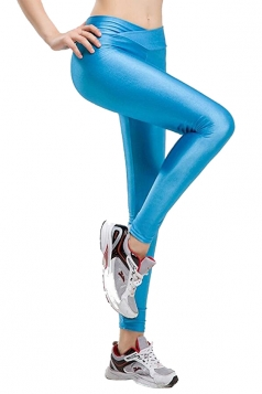 Womens Tights Stretch Skinny Shiny Plain Sports Leggings Light Blue