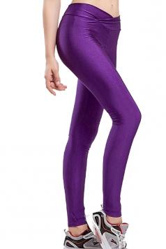 Womens Tights Stretch Skinny Ankle Length Yoga Sports Leggings Purple