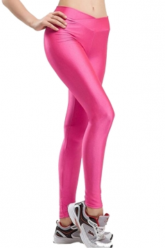 Womens Tights Stretch Skinny Ankle Length Shiny Sports Leggings Pink
