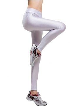 Womens Tights Stretch Skinny Ankle Length Shiny Sports Leggings White