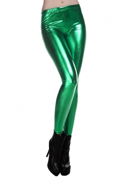 Womens Elastic Skinny Shiny Ankle Length Faux Leather Leggings Green