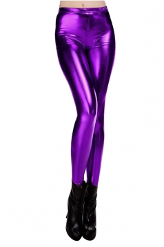 Womens Elastic Skinny Shiny Ankle Length Faux Leather Leggings Purple