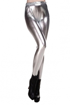Womens Elastic Skinny Shiny Ankle Length Faux Leather Leggings Silvery