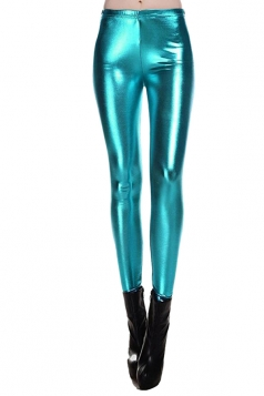 Womens Elastic Skinny Ankle Length Faux Leather Leggings Turquoise