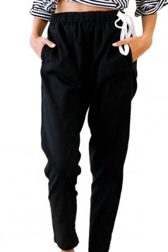 Womens Drawstring Elastic Waist Pocket Leisure Pencil Pants Black