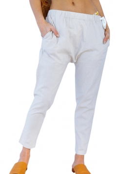 Drawstring Elastic Waist Pocket Leisure Pencil Pants Beige White