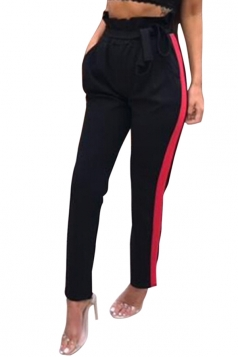 Womens Bandage High Ruffle Waist Pocket Stripe Leisure Pants Black