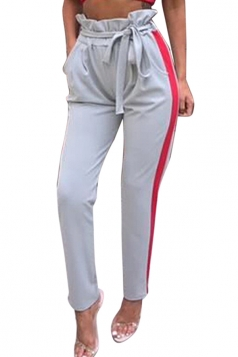 Womens Bandage High Ruffle Waist Pocket Stripe Leisure Pants Gray