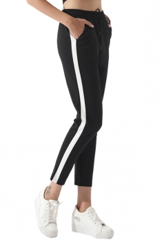 Womens Drawstring Elastic Waist Stripe Sports Leisure Pants White