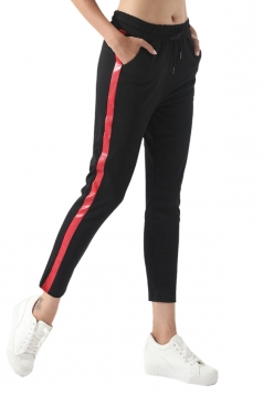 Womens Drawstring Elastic Waist Stripe Sports Leisure Pants Ruby
