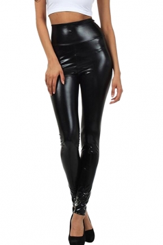 Womens High Waist Skinny Ankle Length Faux Leather Leggings Black
