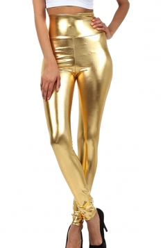Womens High Waist Skinny Ankle Length Faux Leather Leggings Gold