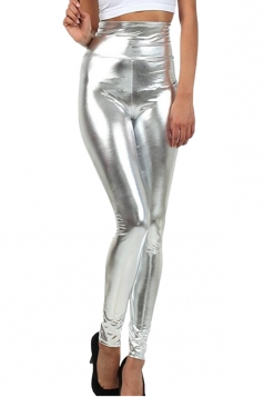 Womens High Waist Skinny Ankle Length Faux Leather Leggings Silvery