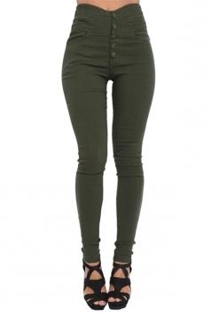 Womens Elastic High Waist Button Skinny Leisure Pants Army Green