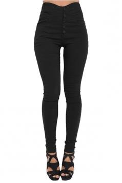 Womens Elastic High Waist Button Design Skinny Leisure Pants Black