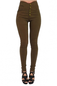Womens Elastic High Waist Button Design Skinny Leisure Pants Brown