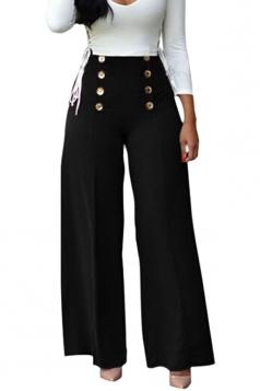 Women V-Neck Lace Up Top&High Waist Butoon Wide Legs Pants Suit Black