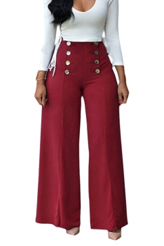 Women V-Neck Lace Up Top&High Waist Butoon Wide Legs Pants Suit Ruby