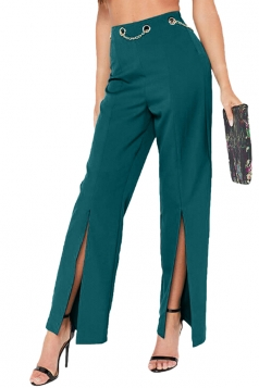 Sexy High Waist Chain Design Slit Flared Trousers Leisure Pants Green