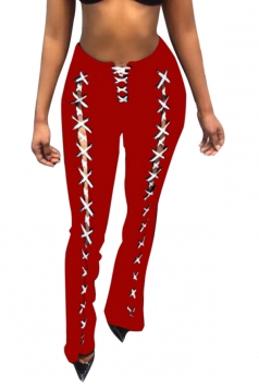 Womens Sexy Long Lace Up Loose Flared Trousers Leisure Pants Ruby