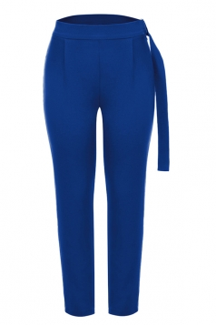 Womens Pleated With Belt Loose Suit Trousers Pencil Pants Blue