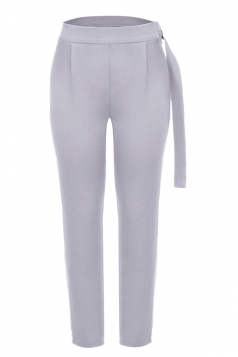 Womens Pleated With Belt Loose Suit Trousers Pencil Pants Light Gray