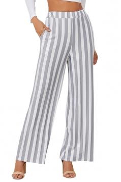 Womens Fashion High Waist Wide Legs Vertical Stripe Leisure Pants Gray