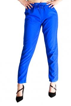 Womens Drawstring Waist Elastic Ankle Loose Plain Leisure Pants Blue