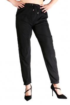 Womens Drawstring Waist Elastic Ankle Loose Plain Leisure Pants Black