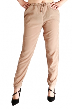 Womens Drawstring Waist Elastic Ankle Loose Plain Leisure Pants Khaki