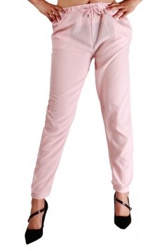 Womens Drawstring Waist Elastic Ankle Loose Plain Leisure Pants Pink
