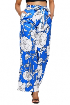 Womens Bandage High Wasit Wide Legs Leaf Printed Leisure Pants Blue