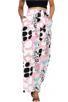 Womens Bandage High Wasit Wide Legs Leaf Printed Leisure Pants Pink