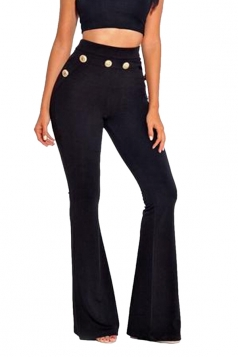 Womens Skinny Leisure High Waisted Studded Plain Bell Pants Black
