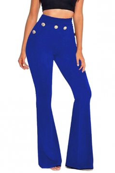 Womens Leisure High Waisted Studded Plain Bell Pants Sapphire Blue