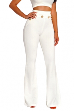 Womens Skinny Leisure High Waisted Studded Plain Bell Pants White