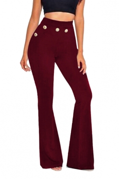 Womens Skinny Leisure High Waisted Studded Plain Bell Pants Ruby