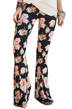 Womens Vintage Wide Leg High Waisted Flower Printed Bell Pants Orange