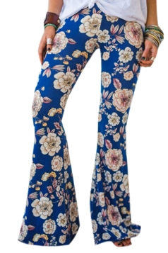 Womens Vintage High Waisted Flower Printed Bell Pants Sapphire Blue