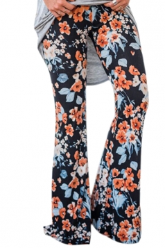 Womens Vintage High Waisted Flower Printed Bell Pants Navy Blue
