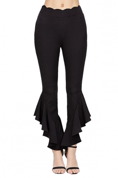 Womens Elegant High Waisted Close-Fitting Plain Bell Pants Black