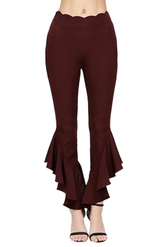 Womens Elegant High Waisted Close-Fitting Plain Bell Pants Ruby