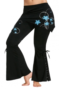 Womens Stylish Lace Up Eyelet Flower Printed Skinny Bell Pants Blue