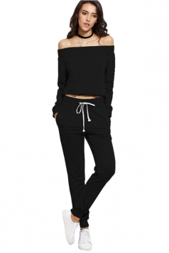 Womens Sexy Off Shoulder Crop Top&Drawstring Pants Sports Suit Black