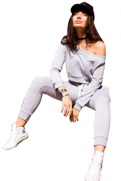 Womens Sexy Off Shoulder Crop Top&Drawstring Pants Sports Suit Gray