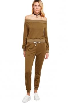 Womens Sexy Off Shoulder Crop Top&Drawstring Pants Sports Suit Khaki