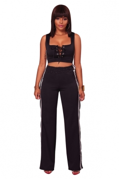 Womens Sexy Lace Up Crop Top&Side Slit Studded Pants Sports Suit Black