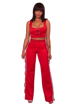 Womens Sexy Lace Up Crop Top&Side Slit Studded Pants Sports Suit Red