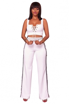 Womens Sexy Lace Up Crop Top&Side Slit Studded Pants Sports Suit White